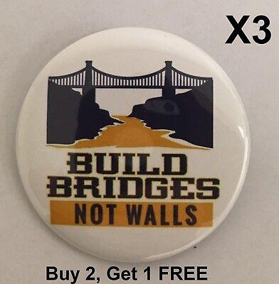 NOWALL-701A Build Bridges Not Walls Special Interest Button Buy 2 Get 1 FREE