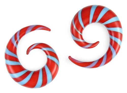 Paire Bleu et rouge en verre Pyrex spirales Jauges