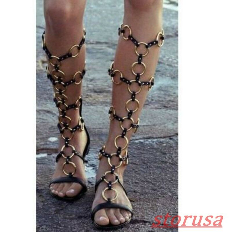 Womens Black Metal Decot Hollow Out Flats Roman Sandals Boots Gladiator shoes Sz