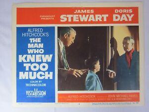 Alfred HITCHCOCK L'UOMO CHE SAPEVA TROPPO James Stewart 1956 LOBBY CARD #8 In buonissima condizione