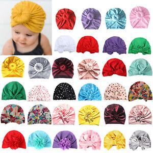 Newborn Toddler Baby Girl Floral Turban Beanie Hat Knot India Ear Cap Head Wrap