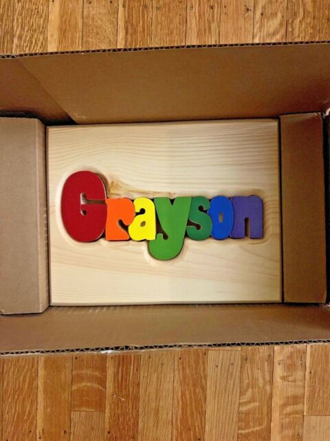 Prime Damhorst Toys Puzzles Personalized Wooden Childs Name Puzzle Stool Grayson Gmtry Best Dining Table And Chair Ideas Images Gmtryco