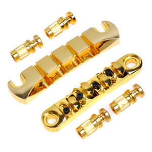 Tune-O-Matic-Bridge-Tailpiece-Ulitmate-For-4-String-Guitar-Bass-Gold