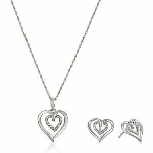 Heart Pendant & Earrings Set With Diamonds in Sterling Silver