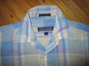 vintage 80s shirt plaid short sleeve VAN HEUSEN button down Large soft thin