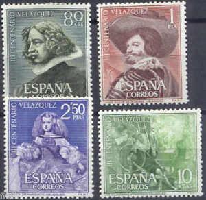 Spain-Edifil-1340-1343-MNH-Set-Muerte-de-Velazquez-painter-pintores