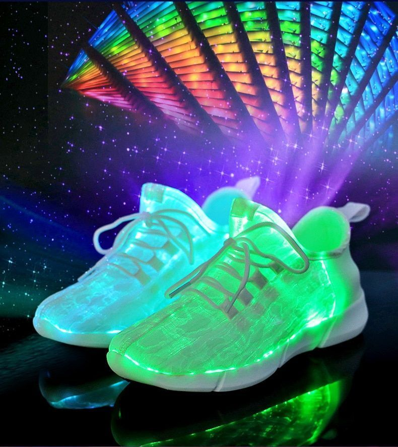 LED Fiber Optic Men shoes USB Rechargeable Glowing Sneakers Top Man Casual Light