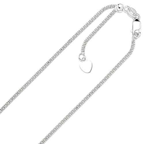"""1.3mm Solid Adjustable Popcorn Chain Necklace REAL 14K White Gold Up To 22/"""" 2.7g"""
