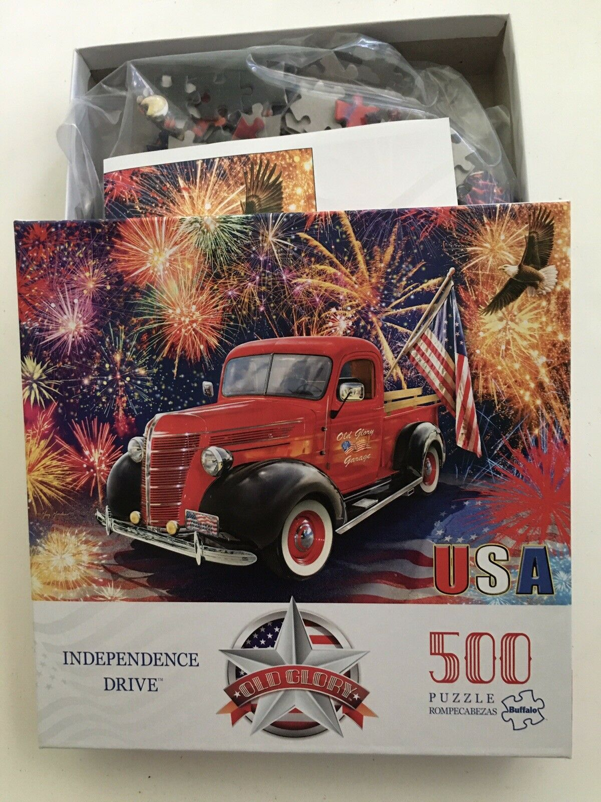 500 Piece Jigsaw Puzzle Independence Drive Old Glory Buffalo Games