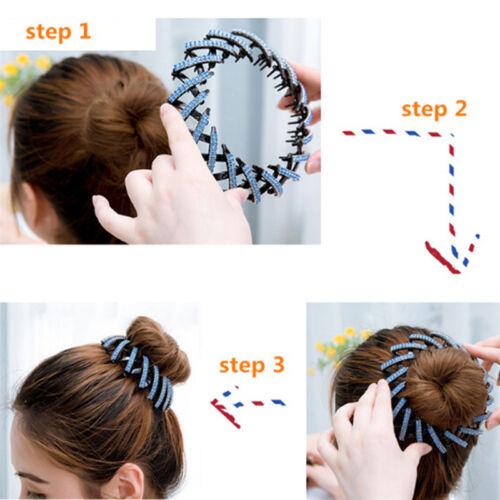 Black Round Crystal Rhinestone Hair Claw Bling Hairs Clips Clamp Ponytail FBDU