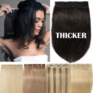 Black-One-Piece-THICK-100-Remy-Human-Hair-Extensions-Clip-in-3-4-Full-Head-120G