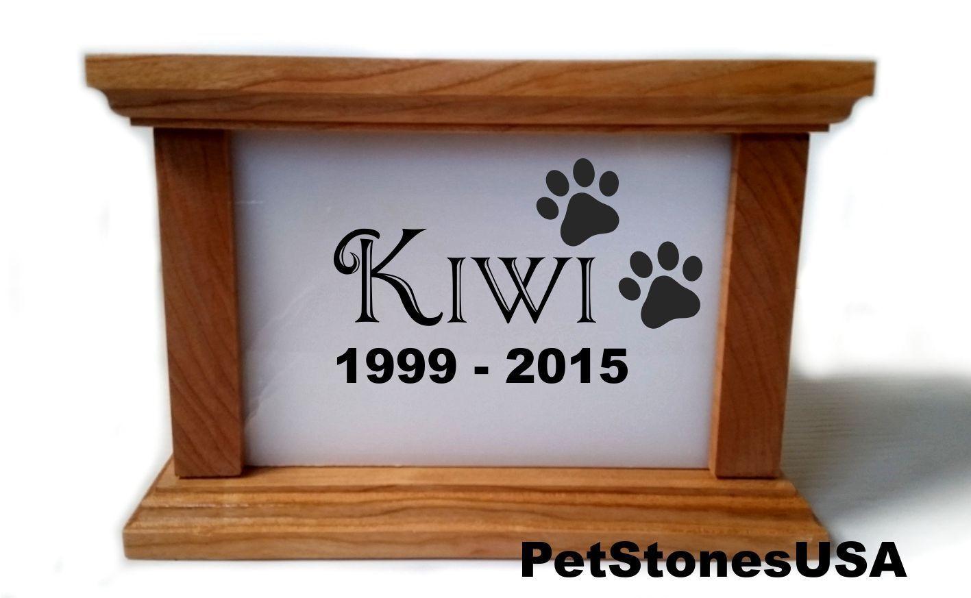 Pet Urn Memorial Weiß Stone Cremation Photo Box Cherry Wood Engraved Rottweiler