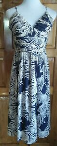 DressNStyle-MAXANDCLEO-String-Maxi-Deep-Blue-Cream-Print-100-Silk-Dress-S6