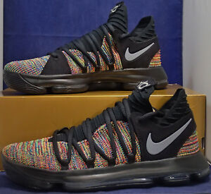 new product 09d63 0fdca Image is loading Nike-Zoom-KD-10-X-Black-Multi-Color-