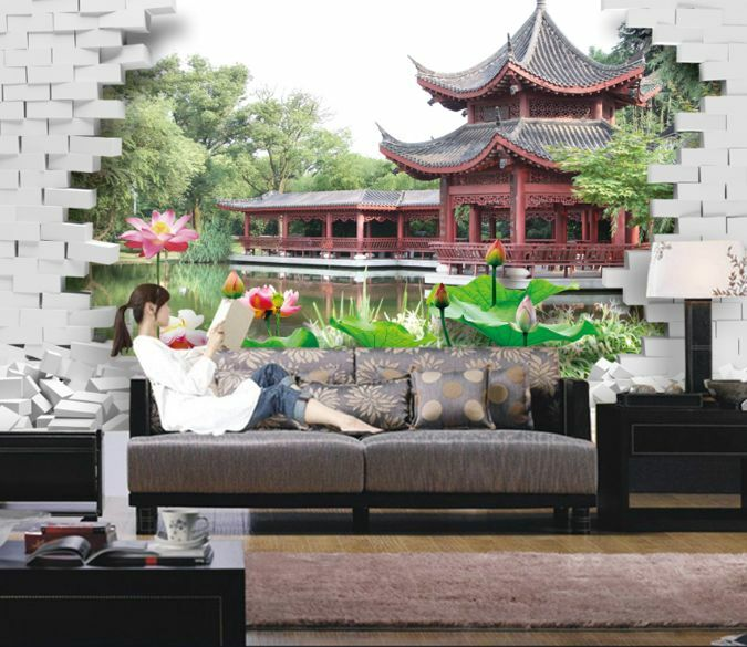 3D Lake Pavilion 619 WallPaper Murals Wall Print Decal Wall Deco AJ WALLPAPER