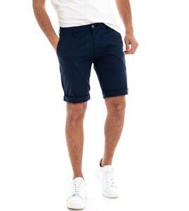 Pantalone-Corto-Uomo-Bermuda-Chino-Pantaloncini-Tasca-America-Blu-GIOSAL
