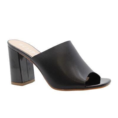 Damen mittelhoch Blockabsatz OPEN TOE RIEMCHEN PARTY SANDALEN Schuhe Größe