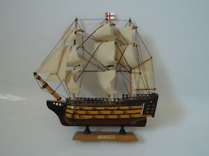 Model-H-M-S-Victory-Ship-On-Stand-Made-From-Wood-Lots-Of-Detail-War-Ship