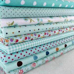 9-PCS-Assorted-Floral-DIY-Craft-Pre-Cut-Charm-20cm-25cm-Quilt-Cotton-Fabric-Blue