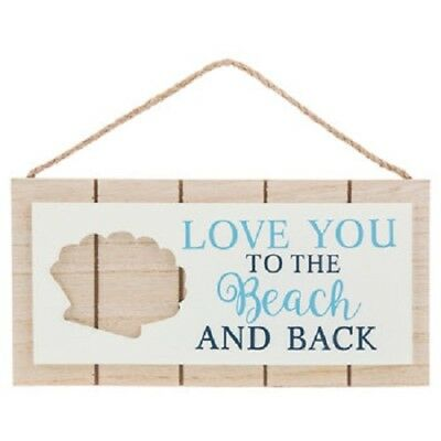 Love You To The Beach and Back Shell Wood Planks Wall Art Plaque gift Decor