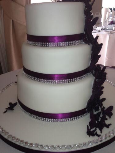 1M Diamante ribbon crystal effect ribbon mesh banding for cakes  6 row wide