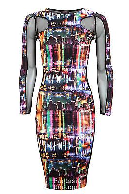 New Ladies Long Sleeve Mesh Insert City Lights Print Women's Bodycon Dress