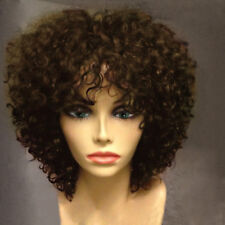 African American Short Curly Blonde Brown Highlights Synthetic