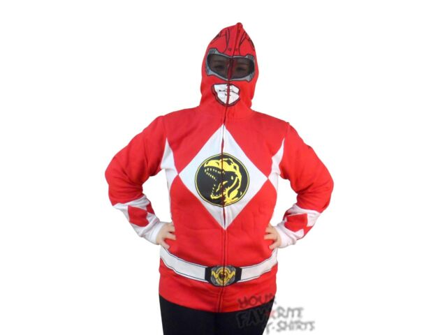 Power Rangers I Am Red Ranger Costume Licensed Zip Up Hoodie S-2XL