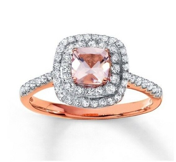 c76956f3d Kay Jewelers Sz 6.25 10K Rose Gold Ring ~ Cushion Cut Pink Morganite Double  Halo