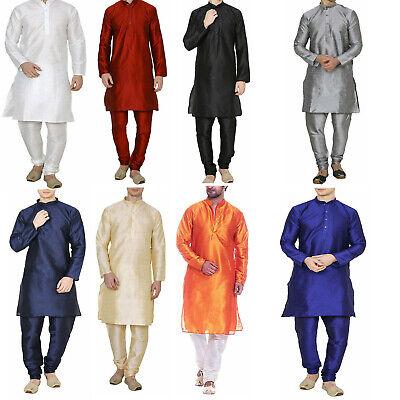 Men Dupion Silk Kurta Pyjama Tradition Indian Ethnic Wedding Party Churidar Set