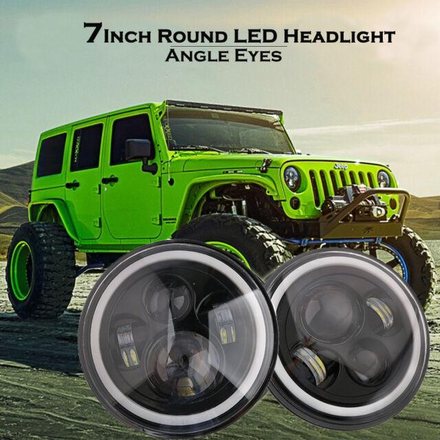 """7/"""" inch Round LED Black Headlight White Halo Angel EyeFor Jeep Wrangler Harley"""