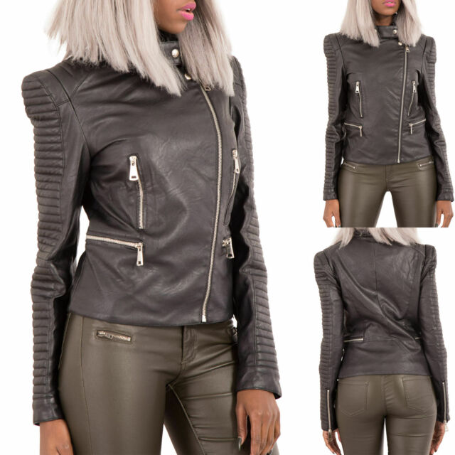 usa cheap sale search for clearance cheap sale Womens Leather Biker Jacket Ladies Zip Up Motorcycle outwear Coat Size 8-10