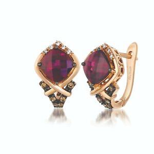 LeVian 14K Rose Gold Rhodolite Garnet Round Brown Diamond Beautiful Earrings