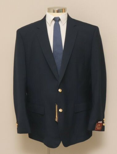 NWT Mens 48R Louis Martin Blue Wool Blend Blazer with Gold Buttons