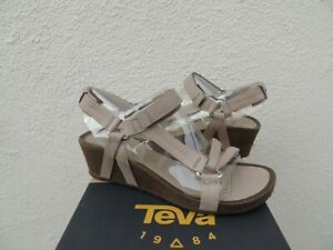 6dad60bd07a1 Image is loading TEVA-YSIDRO-UNIVERSAL-TAUPE-LEATHER-WEDGE-SANDALS-WOMEN-
