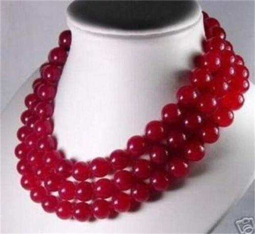 """3row Natural Charming 8mm Red Ruby Necklace 17-19/"""""""