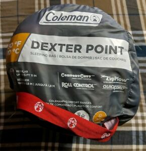 best service cb9a8 846ba Details about Coleman Dexter Point 50 Regular Size Contoured Sleeping Bag  up to 5' 11