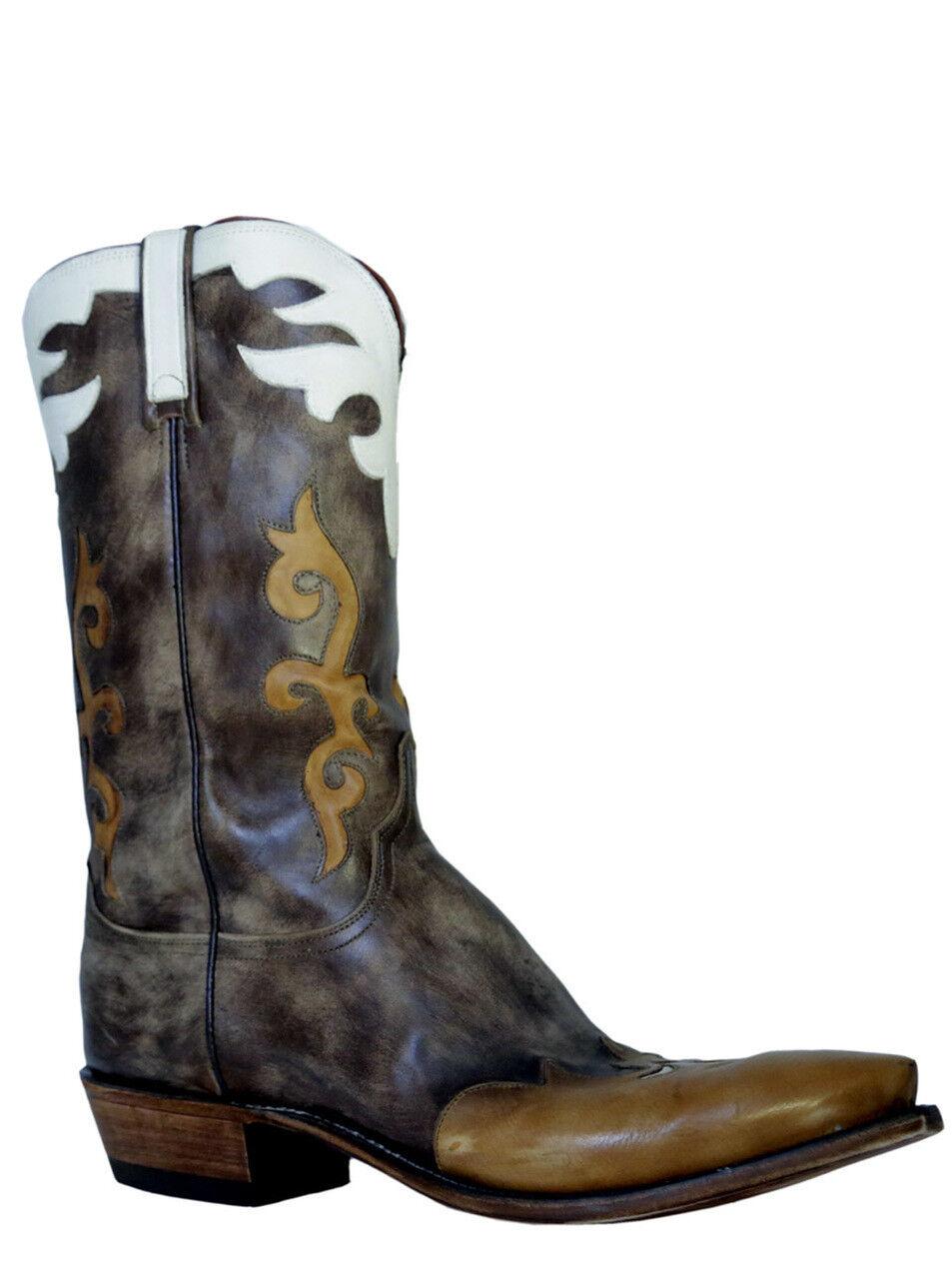 Lucchese Para Hombre botas Vaqueras Buffalo 1883 N9516.54 Marrón Envejecido Antiguo