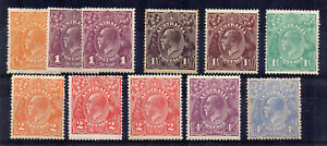 Australia-1918-23-Sideface-values-to-4d-MLH-MH