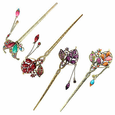 Women Retro Peacock Tassels Alloy Colorful Hair Pin Hair Stick Fashion Jewelry