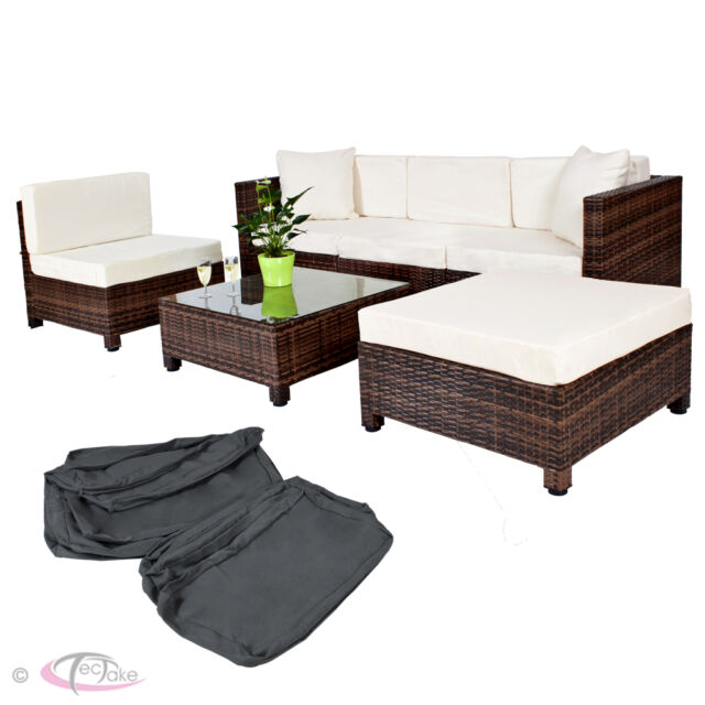 Luxury Rattan Aluminium Garden Furniture Sofa Set Outdoor Wicker brown new
