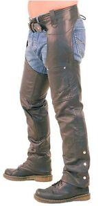 Hombre-Negro-Autentico-Cuero-Motocicleta-Motero-Chaparreras-pantalones-vaqueros