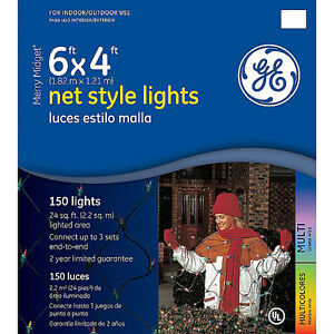 Ge Merry Midget 150 Multi Color Lights 6 X 4 Net Style