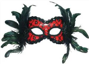 red and black eye mask feathers headband fancy dress masquerade