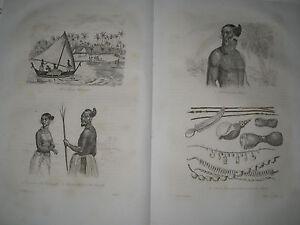1834-Voyage-autour-du-monde-de-M-d-039-Urville-4-gravures-double-feuille-des-Iles