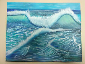 Original-Acrylic-Painting-Beach-Wave-Seascape-16x20-Stretched-Canvas