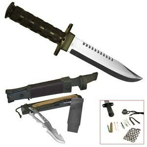 Hunting-and-Survival-Knife-with-Nylon-Sheath-Includes-Survival-Kit-Whetstone