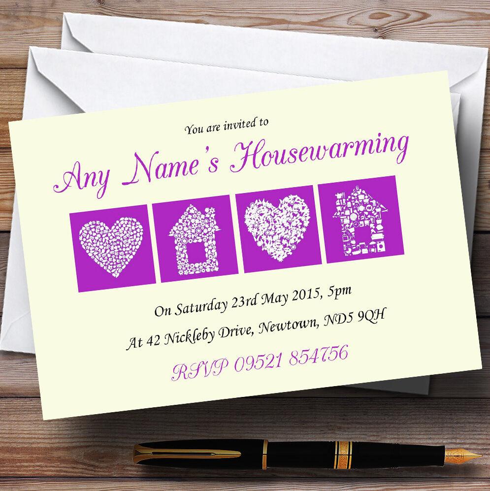 Jaune pâle et violet crémaillère party invitations invitations party personnalisées e57dea