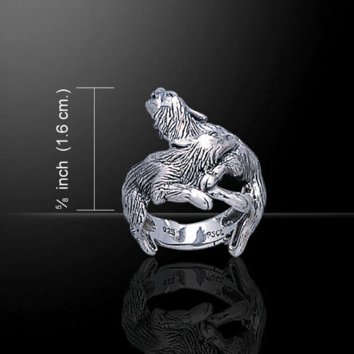 WOLF PAIR RING 2 WOLVES cleverly ENTWINED AS A RING .925 SILVER by Peter Stone