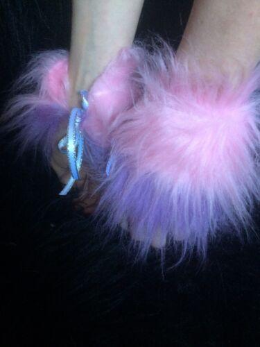 Wrist Cuffs Baby Pink /& Lilac Stripe Fancy Dress Cuffs Unisex One Size Fake Fur